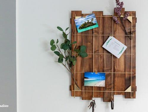 Vintage Board aus Holz für Infozettel, Fotos und Sitzplatzkarten